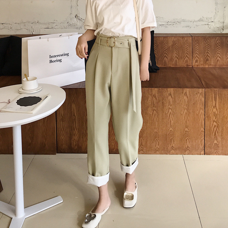 Casual Sashes High Waist Straight   Pants   Women Female Work   Pants     Capris   2019 OL Elegant Trousers