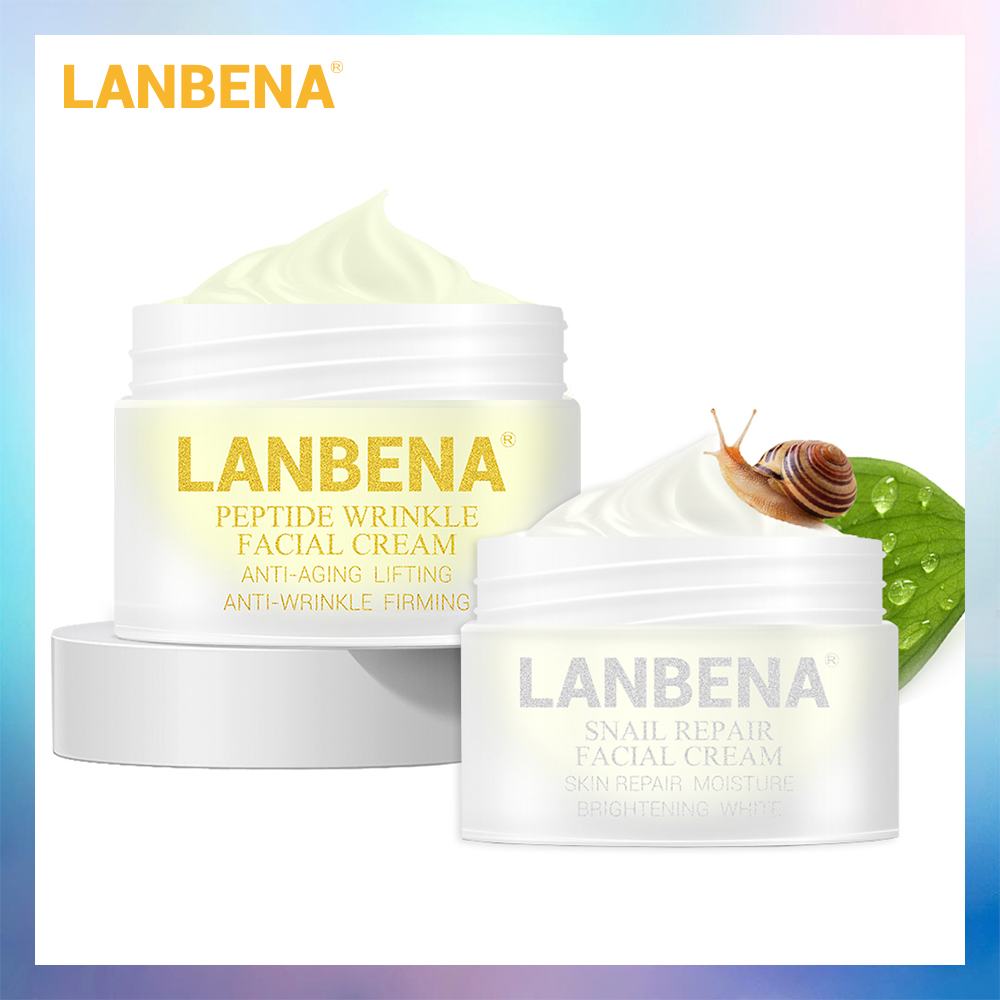 LANBENA Peptide Anti Wrinkle Facial Cream+Snail Cream Anti Aging Skin Care Whitening Lifting Firming Acne Treatment Day Cream image