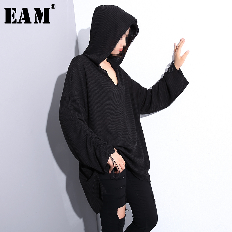 [EAM] Black Drawstring Big Size Knitting Sweater Loose Fit Hooded Long Sleeve Women Pullovers New Fashion Tide Spring 2020 JH892