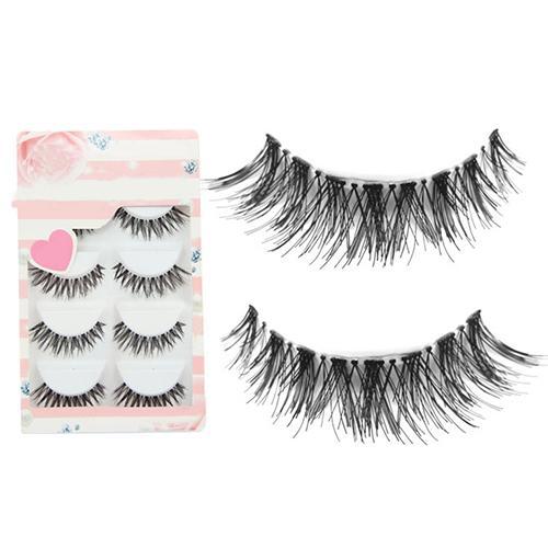5 Pairs/Lot Black Mink Eyelashes Clear Band Eye Lashes Crisscross Transparent Band False Eyelashes Handmade Lashes Upper Lash
