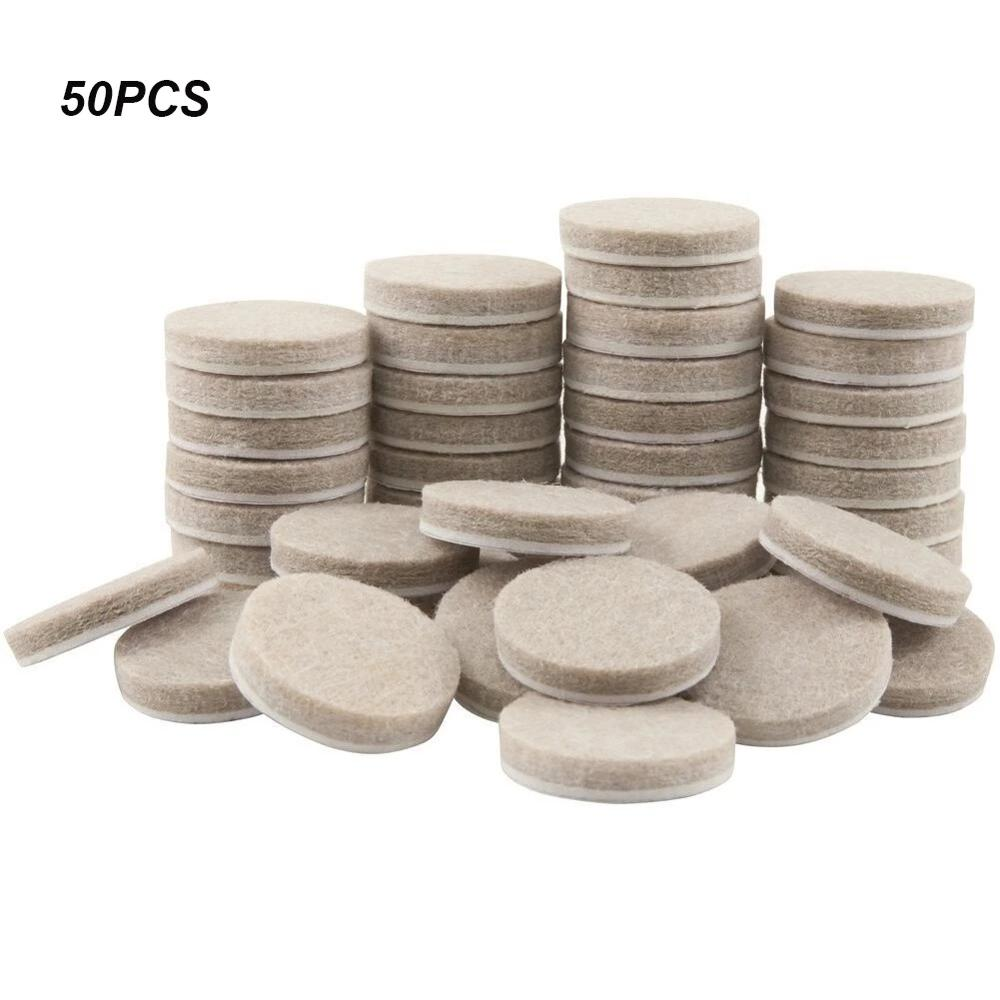 50pcs Round Thicker Felt Furniture Pads 20mm 30mm Thicker Protects For Floor Surface Anti Skid Scratch Tabs Leg Anti-Slip Pads