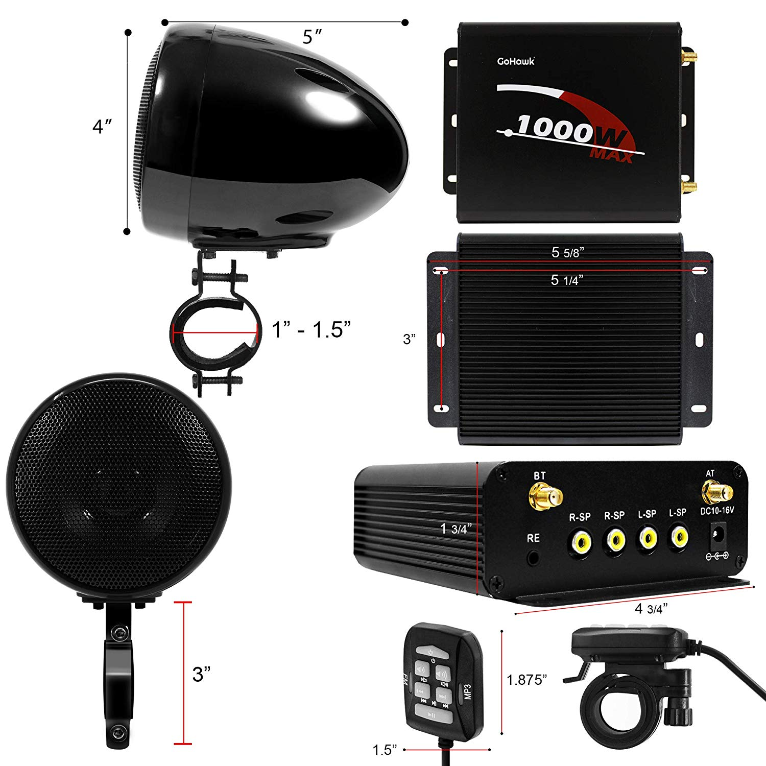 Image 4 - Aileap 1000W Motorcycle Audio 4 Channel Amplifier Speakers System, Support Bluetooth, AUX, FM Radio, SD Card, USB Stick (Black)Motorcycle Audio   -