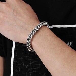 Image 2 - Bracelet en argent Sterling 100% pur 925 pour hommes et femmes, accessoire échelle de Dragon, épaisseur de 5 à 7MM, YB11