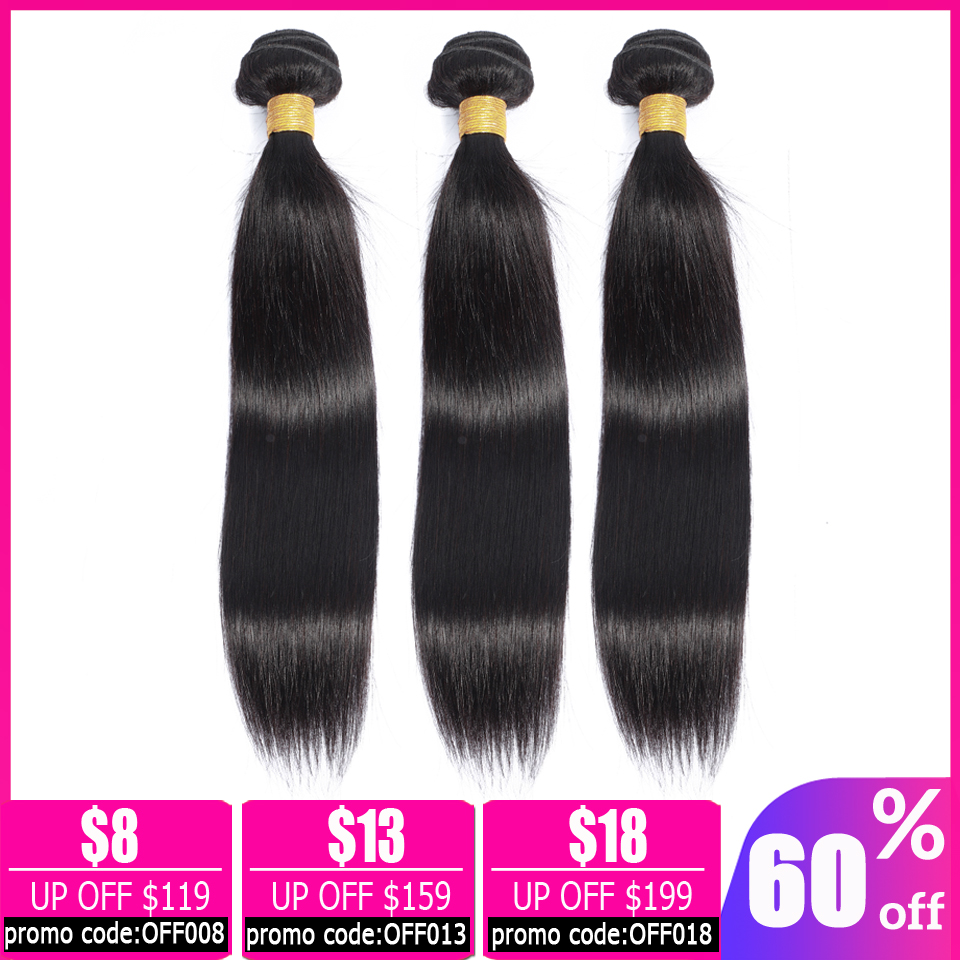 Lanqi Straight Hair 3 Bundle Deals Brazilian Hair Weave Bundles Human Hair Bundles 28 30 32 Inch Bundle Non-remy Hair Extensions