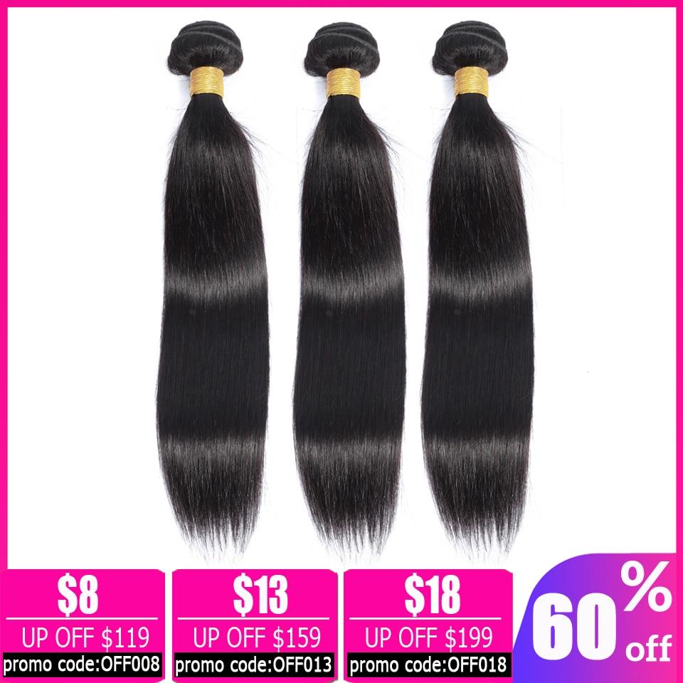Lanqi Straight Hair 3 Bundle Deals Brazilian Hair Weave Bundles Human Hair Bundles 28 30 32 Inch Bundle Non-remy Hair Extensions