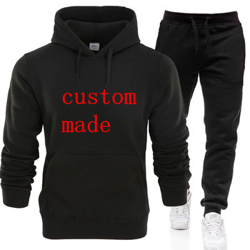 2019 Wholesale Winter New Tracksuit Brand Men Sporting Hoodies Two Pieces Suits Casual Track Suit Men jacket+Pants Warm Coat