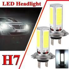 Bombilla de luz antiniebla para coche, luz LED H7 de 6000K, 80W, 2400LM, para conducción diurna, faro delantero de bombillas LED COB, para motocicleta, SUV, ATV, 2 uds.