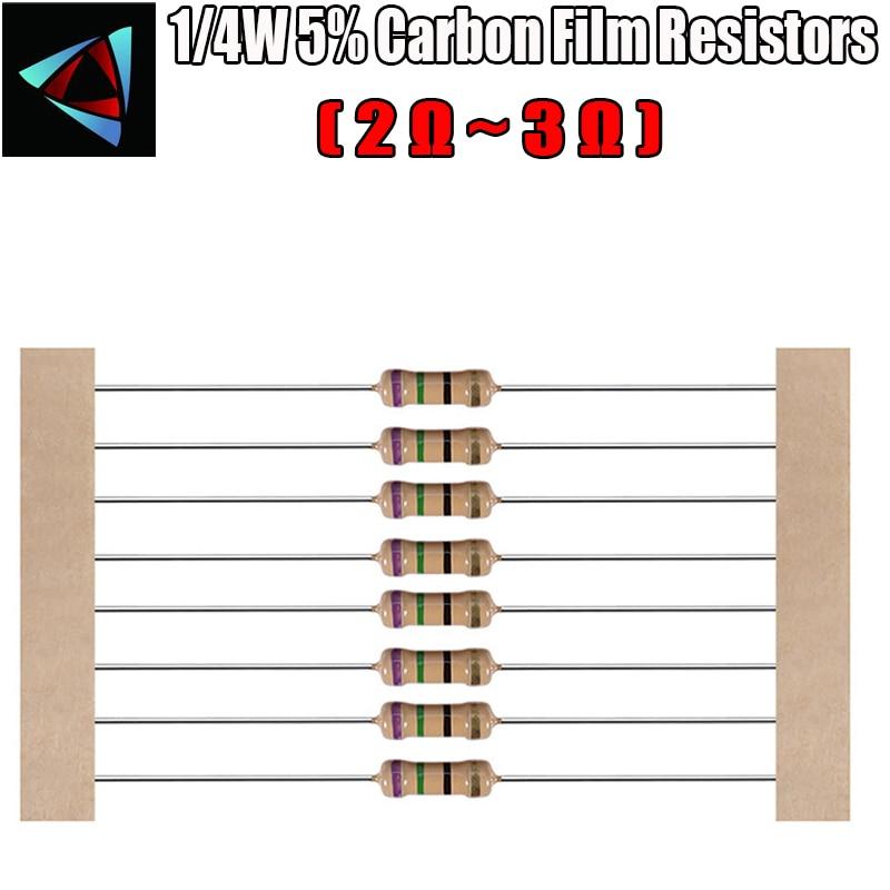 100 шт. 1/4 Вт 5% карбоновый пленочный резистор 2 2,2 2,4 2,7 3 ом