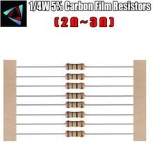 100pcs 1/2 4W 5% Resistor de Filme de Carbono 2.2 2.4 2.7 ohm 3