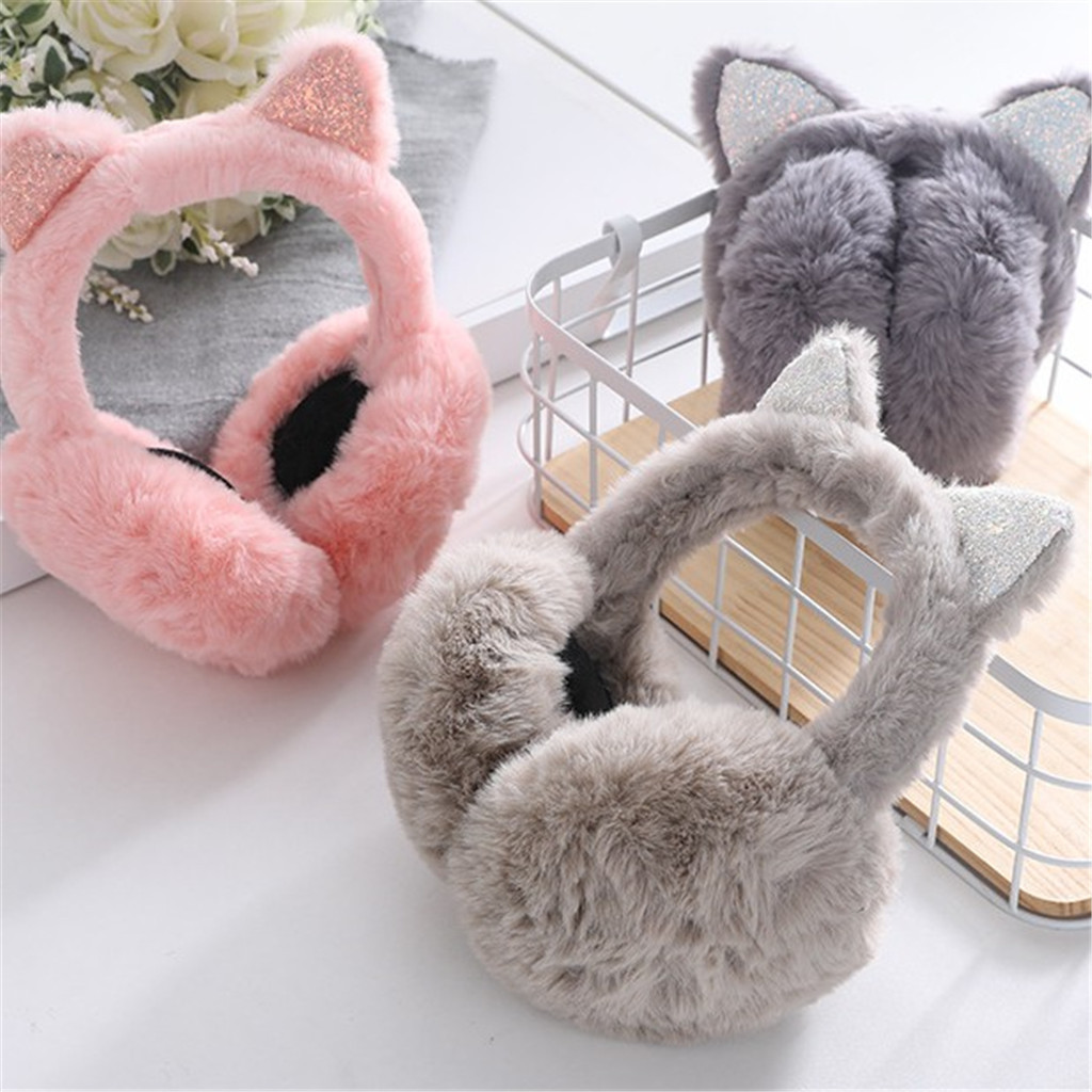 Winter Warm Women Cartoon Cat Ears Design Windproof Warm Adjustable Earmuffsмеховые Наушники Ear Muffs Winter Accessories