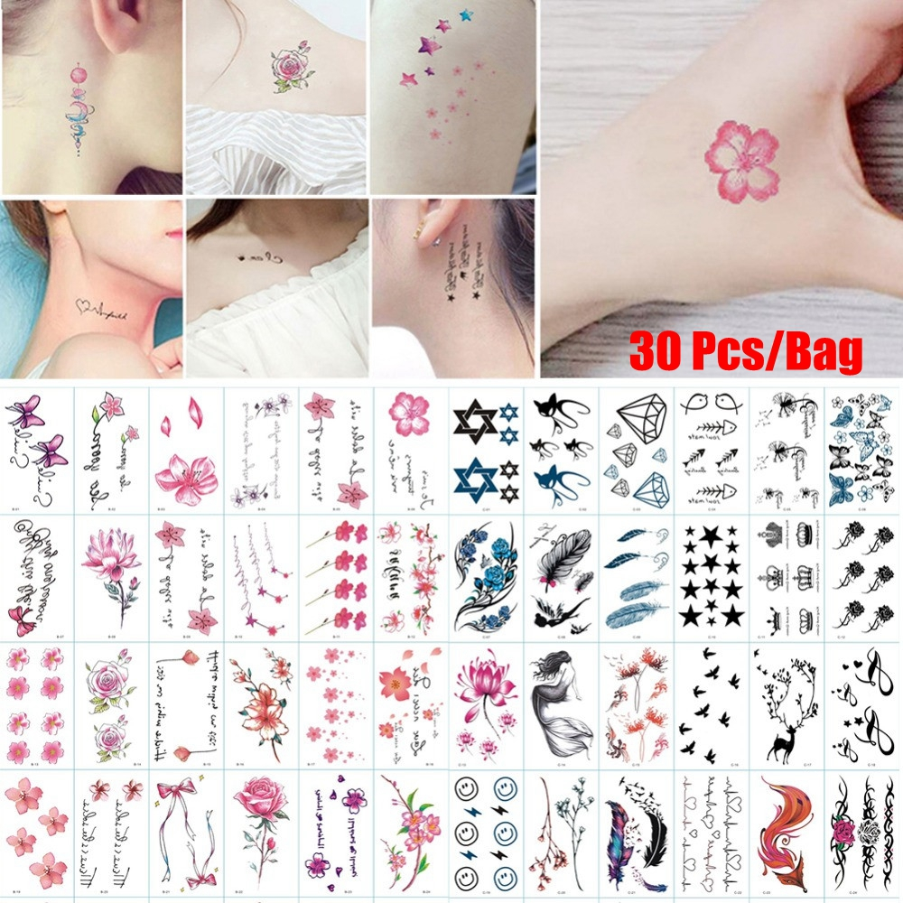 30 Patterns/Pack Long Lasting Waterproof Temporary Tattoo Stickers Removable Body Art Water Transfer Flowers Tattoos Cover Scars
