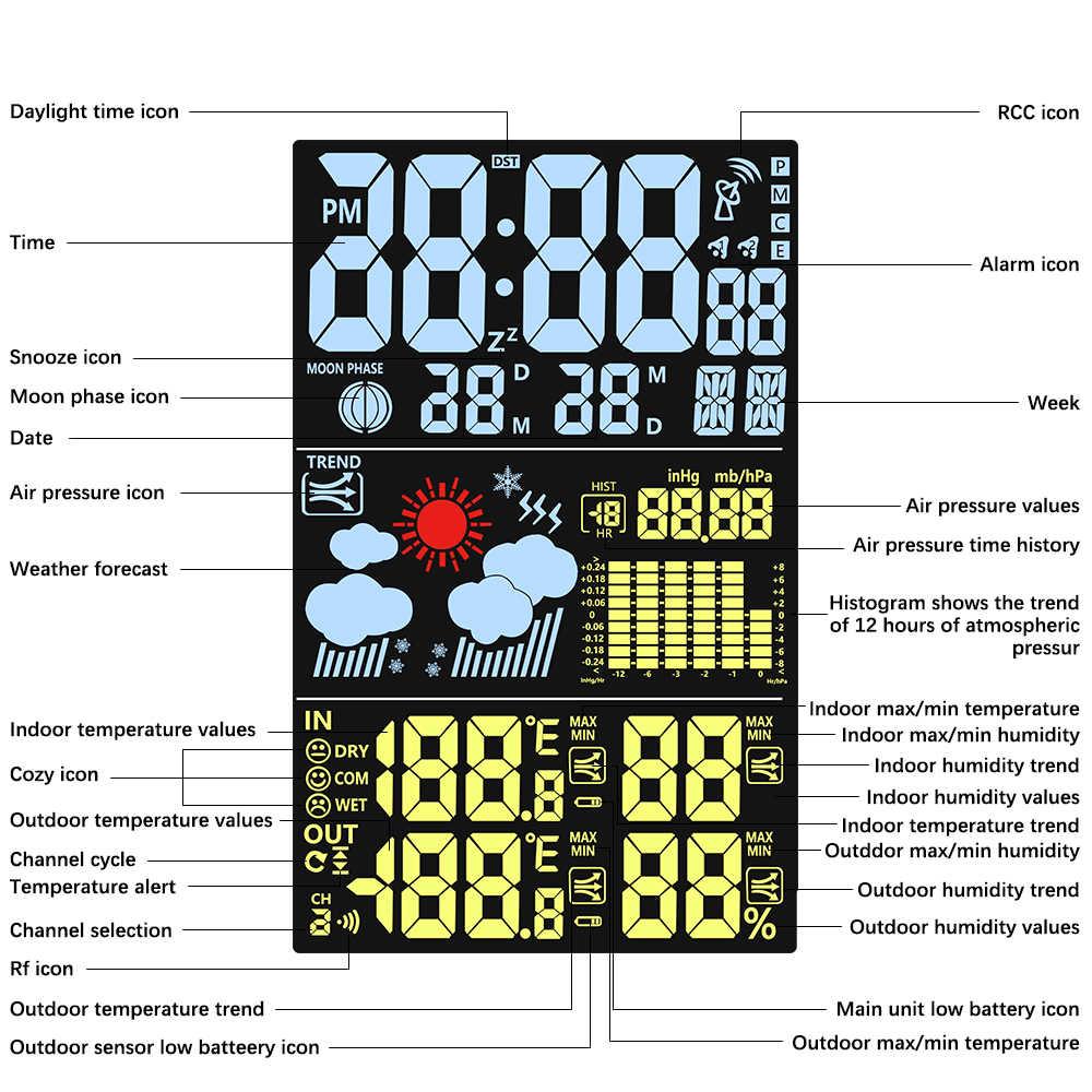 Đồng Hồ Báo Thức An Toàn Trạm Thời Tiết Nhiệt Độ Độ Ẩm Không Dây Nhiều Màu Sắc Màn Hình Hiển Thị LCD Phong Vũ Biểu Dự Báo Thời Tiết Đồng Hồ Trong/Ngoài Trời
