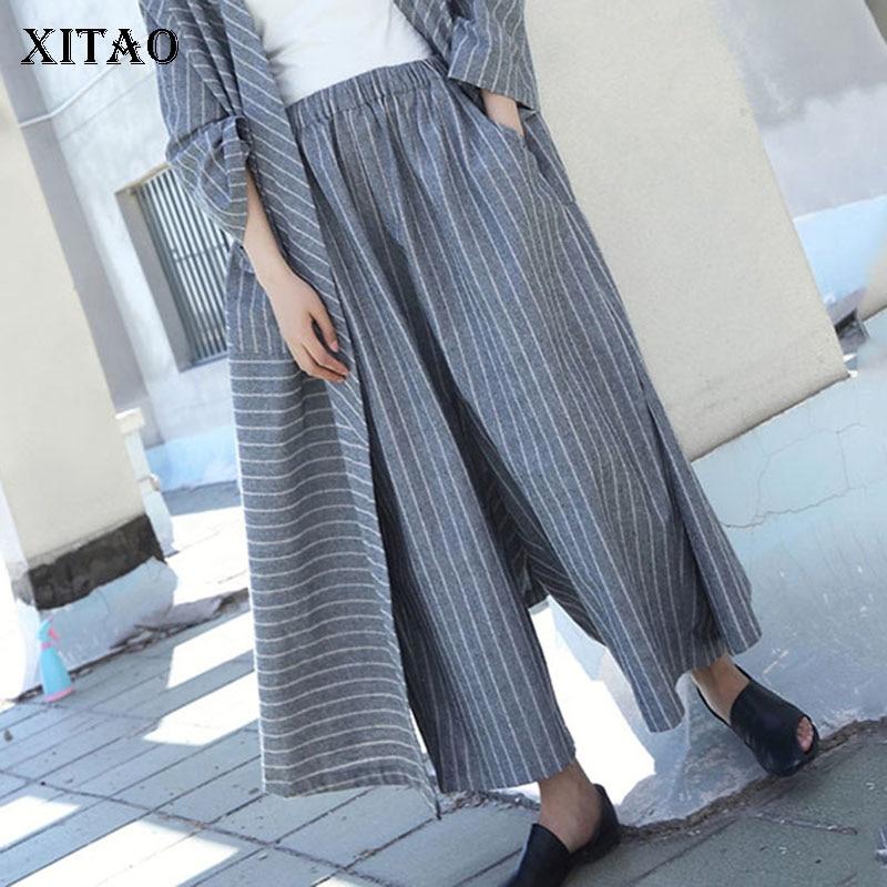 XITAO Linen Stripe Loose Casual Wide Leg Pants 2019 Autumn Plus Size Long Pants Fashion Elastic Band Trousers Women WQR1321