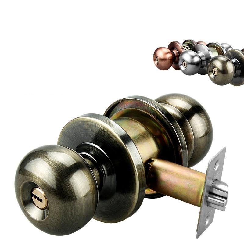 Stainless Steel Round Ball Door Handle Lock Set Exterior Bathroom Handle Locks with Key Home Door Hardware Accessories