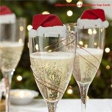 100pcs Xmas Santa Claus Hats Champagne Glass Decor Paperboard Noel Navidad Christmas Decorations 2019