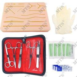 Kit de entrenamiento de sutura quirúrgica almohadilla de entrenamiento médico para la piel MODELO DE Práctica de sutura Scalpel aguja de sutura soporte de aguja