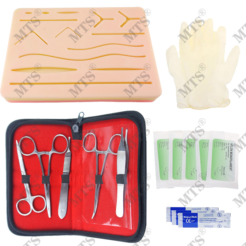 Medical Student Skin Suture Training Kit Surgical Suture Instrument Silicone Model Scalpel Suture Needle Needle-holder
