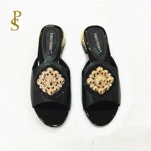 Image 5 - Afrykański styl obuwie damskie kapcie z metalowym wykończeniem i dżetów dla pań