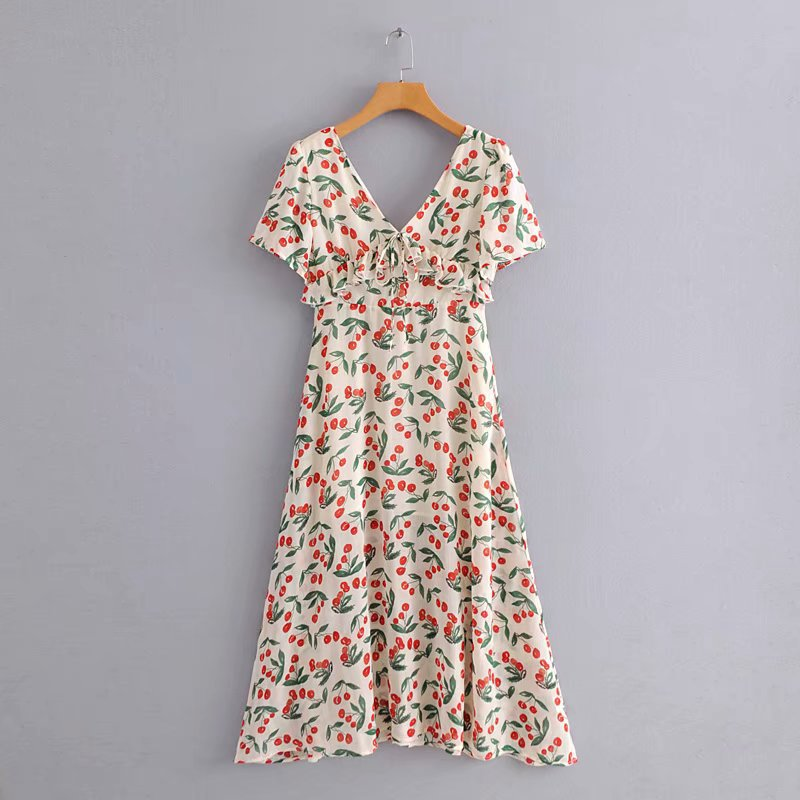 D14-98646 Korean-style Sweet Slim Fit Cherry Printed Short Sleeve Long Dress Women's