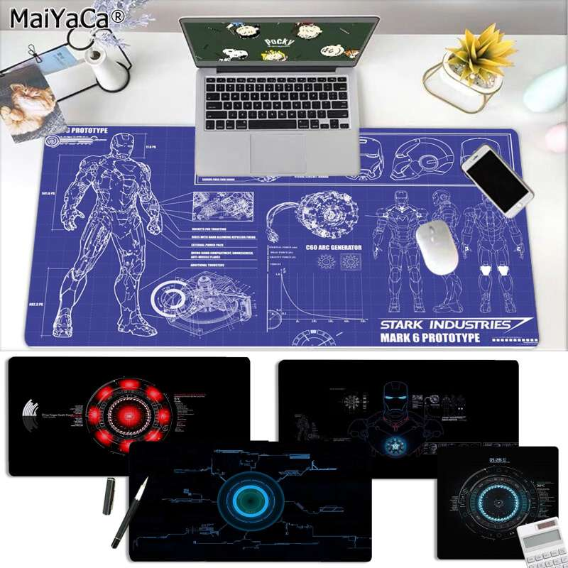 MaiYaCa My Marvel Iron Man Jarvis Stark Industries Unique Desktop Pad Game Mousepad Free Shipping Large Mouse Pad Keyboards Mat