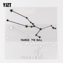 YJZT – autocollants en vinyle 15 × 9.5CM, Constellation du zodiaque, taureau, étoile intéressante, noir/argent, 10A-0428