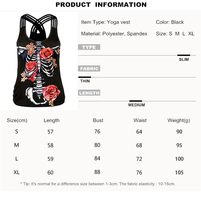 Купить с кэшбэком Summer Women Sport Vest Skeleton 3D Print Female Yoga Shirt Gym Running Fitness T-shirts Cross Halter Tank Tops Quick Dry Blouse