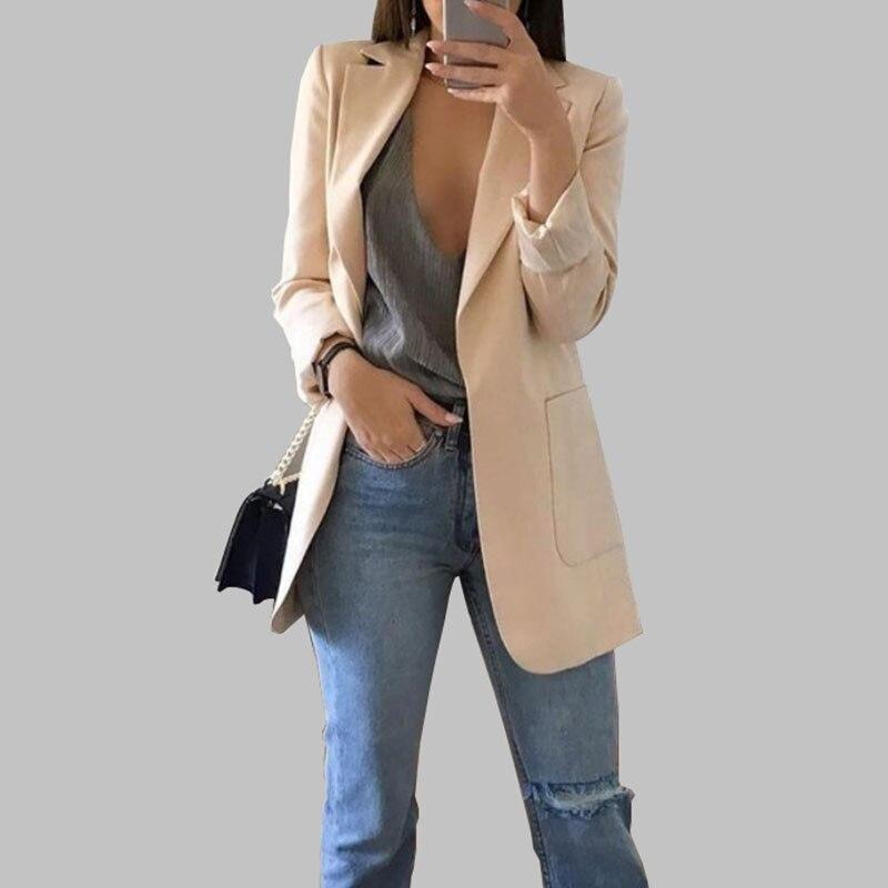 Women's Suit Fashion Lapel Slim Cardigan Temperament Suit  Medium Long Women's Coat Large Size