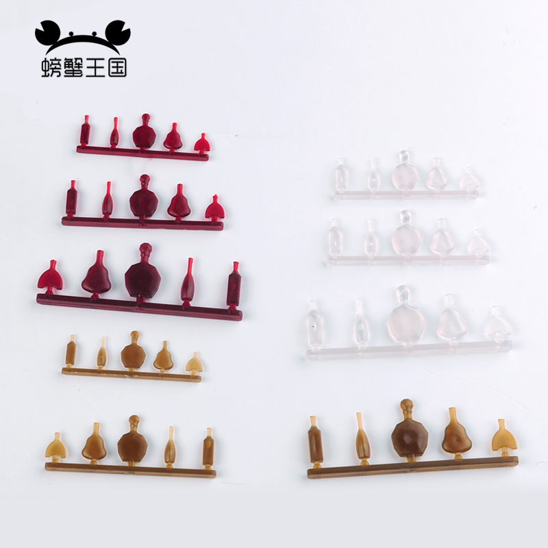 10 Sets 1/20 1/25 1/30 Scale Plastic Crafts Mini Fake Red Wine Bottle Cup Miniature Decoration Model DIY Sand Table Material