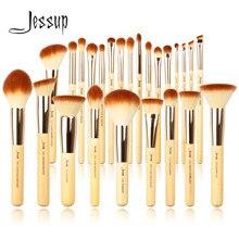 Jessup bambu profissional maquiagem pincéis conjunto 6-25 pces beleza fundação pó sombra compõem escova