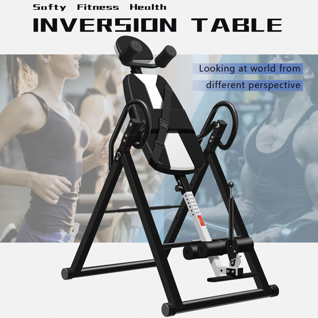 Heavy Duty Integrated Steel Frame Adjustable Foldable Ergonomic Inversion Table Fitness Equipment Black/Blue