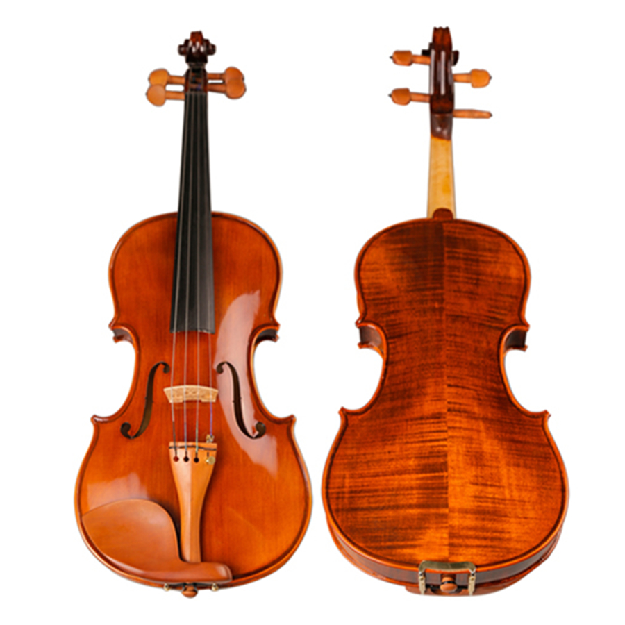 High Quality Handmade Antique Violin Natural Stripes Maple Hand-craft Oil Varnishing Violino Jujube Fitted TONGLING Brand image