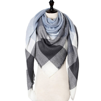 Winter Cashmere Scarf Women Plaid Blanket New Designer Triangle Pashmina Shawls and Scarves 140*140*210cm - discount item  72% OFF Scarves & Wraps