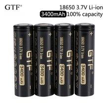 2020 neue GTF 18650 3400mAh 100% kapazität 3,7 V Li-Ion Akku für Taschenlampe flache kopf batterien