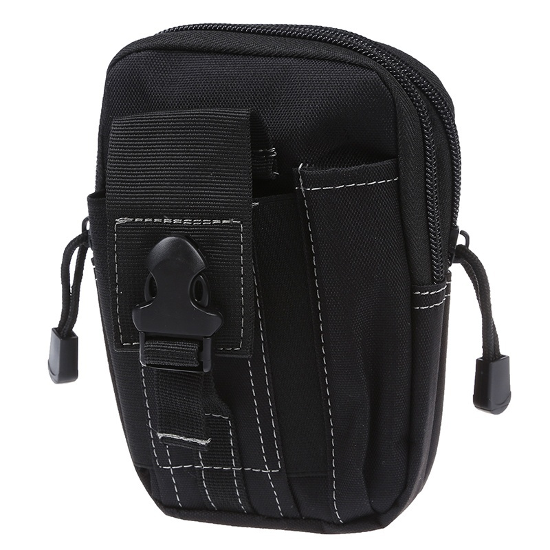 ABZC-Molle Waist Bags Men's Outdoor Sport Casual Waist Pack Purse Mobile Phone Case For Phone Black