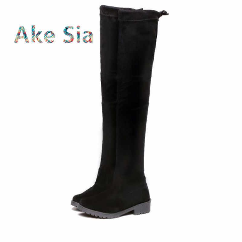 2019 ใหม่เซ็กซี่รองเท้าเข่ารองเท้า, ผู้หญิงฤดูหนาวรองเท้าส่วน 2019 แบนด้านล่างเพิ่มขึ้นสูง-ต่ำยืดหยุ่นรองเท้า A01