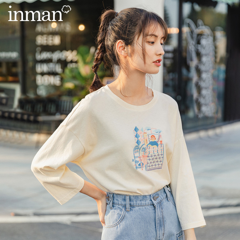 INMAN 2020 Summer New Arrival Pure Cotton Cute Embroidered Loose Leisure Half Sleeve T-shirt