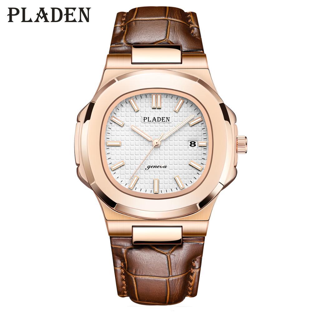 PLADEN Mens Watches Luxury Men's Quartz Watch Longinesing Strong Waterproof Auto Date Fashion Casual Geneva Brown Leather Watch