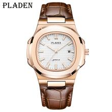 PLADEN Mens Watches Luxury Mens Quartz Watch Longinesing Strong Waterproof Auto Date Fashion Casual Geneva Brown Leather Watch