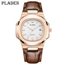 Мужские кварцевые часы PLADEN, водонепроницаемые часы с функцией автоматического определения даты, коричневые кожаные часы