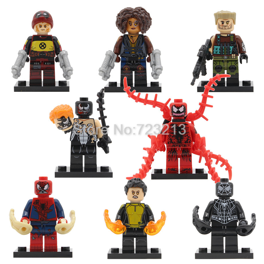Spiderman Figure Black Spider Man Domino Super Hero Venom Cable Warhead Deadpool Building Blocks Set Brick Model Toys Legoing