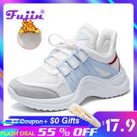 Fujin Sneakers mujer 2019 transpirable Mesh Casual Shoes moda femenina zapatilla de deporte con cordones alta ocio mujer zapato vulcanizado plataforma
