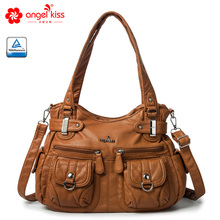 Angelkiss Brand Eco-Friendly Washed PU Leather Top Handle Sa