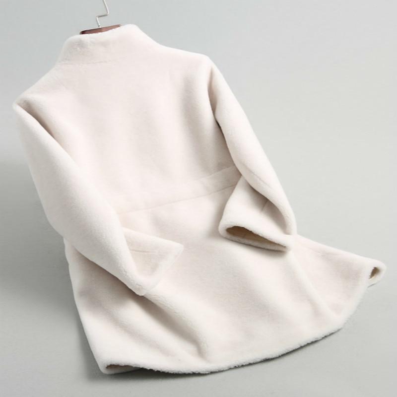 Real Winter Fur Coat Women Clothes 2020 Korean Fashion Slim Long Wool Jacket+belt Elegant Ladies Fur Coats Outwear 18196 S
