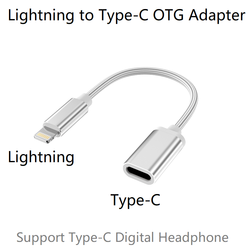 Adaptador Lightning macho a tipo C hembra OTG para iPhone 11 Pro Max, Xs Max, Xr, iPad Air, soporte para iPod USB-C auriculares digitales DAC