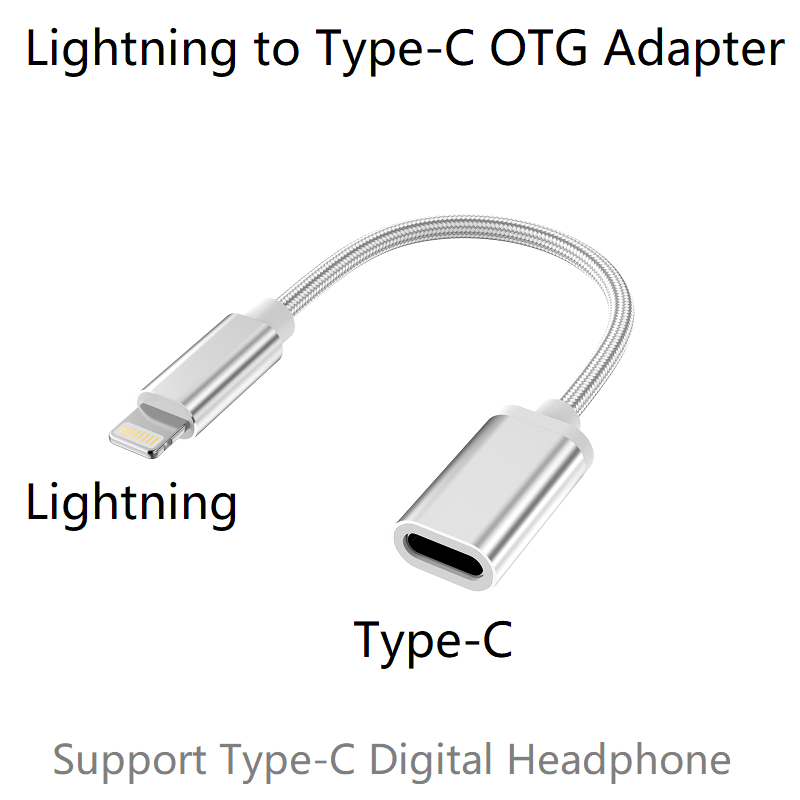 Lightning Male to Type-C Female OTG Adapter for iPhone 12 11 Pro Max,Xs Max,Xr,iPad Air,iPod Support USB-C Digital Headphone DAC