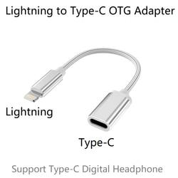 Lightning Male untuk Tipe-C Perempuan OTG Adaptor untuk iPhone 11 Pro Max X Max XR, iPad Air, IPod Dukungan USB-C Digital Headphone DAC