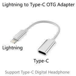 Relâmpago macho para tipo-c fêmea otg adaptador para iphone 11 pro max, xs max, xr, ipad ar, ipod suporte USB-C digital fone de ouvido dac