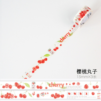 1.5cm 3m 1 Pcs We Love Fruit Design Fresh Cherry Style Washi Tape DIY Scrapbook Sticker Label Masking Home Decor