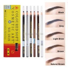 5pcs Waterproof Microblading Eyebrow Pencil Peel-off Water-Resistant Black Grey Brown Light Natural White Color