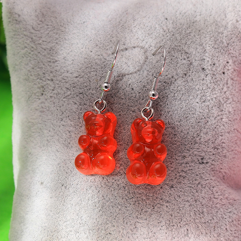 H54eaa6ad6f35444d9e712d8419e626d7r - 1 Pair Creative Cute Mini Gummy Bear Earrings Minimalism Cartoon Design Female Ear Hooks Danglers Jewelry Gift